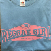 REGGAE GIRL T-SHIRT PALE BLUE & PINK